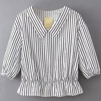 White Striped Long Sleeve Blouse