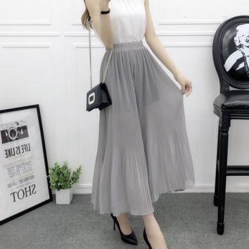summer new Loose pleated wide-legged Pants Panty -0412