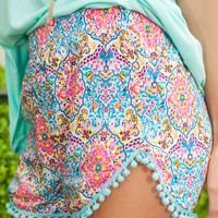 Pattern Pop Shorts, Pink-Blue