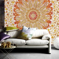 Orange Lotus Mandala Bohemian Wall Boho Tapestry