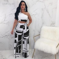 Nessa Two Piece Crop Top and Wide Leg Pants Suit