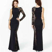 Black One Shoulder Asymmetrical Lace Mesh Maxi Dress