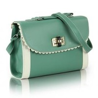 Romantic Gestures Vintage Scallop Lace Trim Two Toned Handbag in Mint Green | Sincerely Sweet Boutique
