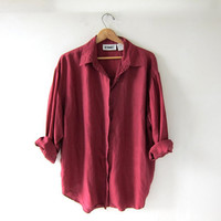 90s silk shirt. maroon red blouse. minimalist top