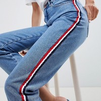 New Look Side Stripe Mom Jean at asos.com