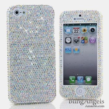 Bling iphone 5 5S Case Cover Faceplate 3D Swarovski Luxury Diamond Case Cover Faceplace AB Crystals Design (100% Handcrafted by BlingAngels® with Carry Pink Pouch)