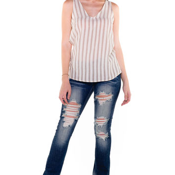 (akv) Twisted on back striped cami