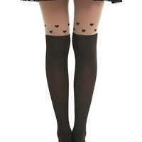 LOVEsick Floating Hearts Faux Thigh High Tights