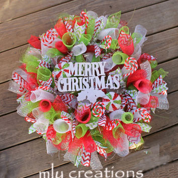 Deco Mesh Christmas Wreath, Merry Christmas Wreath,Red and Green Wreath, Christmas Mesh Wreath, Decor, Holiday Wreath, Chevron wreath