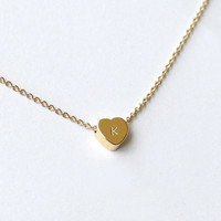 personalized gold heart initial necklace, hand stamping initial jewelry, dainty necklace, bridesmaid gifts, birthday, wedding jewelry