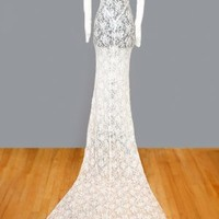 1930's Ivory Lace Long Wedding Dress with Train - S ANTIQUE WEDDING DRESSES: 1930's, 40's :