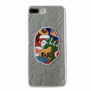 Bape Aape Fashion New Letter Pattern Print Leather Women Men Protective Cover Phone Case Gray