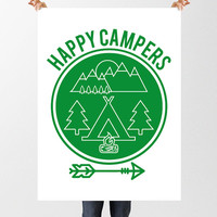 Happy Campers Print, Nursery Art, Camping Illustration, Woodland Nursery, Camp Themed, Instant Download, Printable Art, Wilderness Adventure