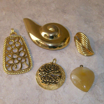 Jewelry Supplies, Gold tone Pendants, Pin and Ivory Stone Heart, 5 pieces total, Steampunk supplies, Destash