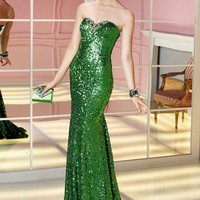 Fully Sequined Green Evening Gown 6221 by Alyce Paris from SIMPLE ELEGANCE