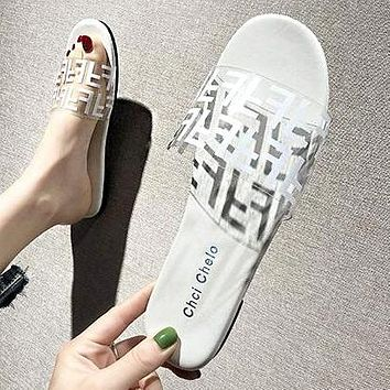 FENDI Summer Newest Fashion Women Casual Flat Transparent Candy Color Sandal Slippers Shoes White