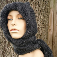 Hand Knit Hat Cable Scarf Hat in Charcoal Grey by pixiebell