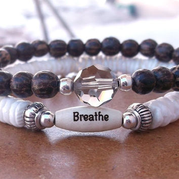 CHOOSE YOUR WORD Shells and Palm Wood Bracelet