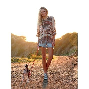 Free People Navajo Dune Sweater With Fringe Aztec Print Hoodie Pullover Jumper In Beige Charcoal And Clay Brown Size XS