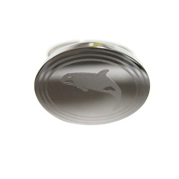 Silver Toned Etched Oval Jumping Killer Whale Orca Tie Tack
