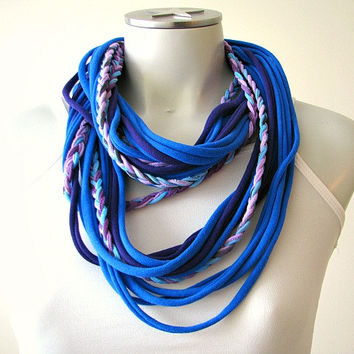 Tshirt Necklace Tshirt Scarf with Braid, Infinity String Scarf, blue and purple