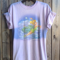 Bleached, tie dyed, Disney Tinker Bell t shirt ...one of a kind t shirt