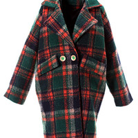 Green Plaid Lapel Loose Woolen Coat