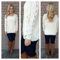 Ivory Floral Lace On the Side Knit Sweater