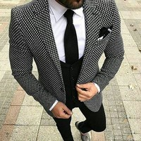 2018 Brand Style Suits Black White Floral Pattern Men Suit Slim Fit Groom Tuxedo 3 Piece Custom Made Prom Business Formal Suit