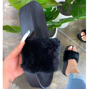 New fashion women's shoes 36-43 one-word plush thick-soled slippers women