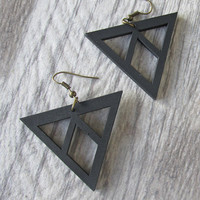 Black Triangle Eco Wood Earrings, Triangle & Diamond Dangle, Laser Cut, Sacred Geometry, Past Present Future, Balsa Wood, Isle Of Craftin
