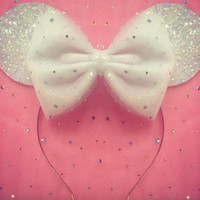 Disney Minnie Mouse Ears with Hair Bow Sparkle Disney Ears Bridal Minnie Ears Disney Wedding Bridal Shower Hen Party