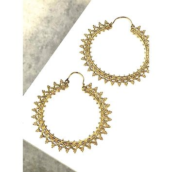 Maharajah Brass Hoop Earrings