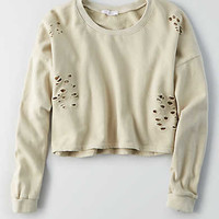 Don't Ask Why Destroyed Crop Sweatshirt, Natural