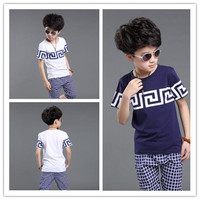 Boy Clothes Fashion Children Summer Personal Printing and Short Sleeve Casual T-shirt Hot Kids Plaid and Elastic Shorts Two Piece