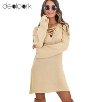Knit Dress Lace Up V-Neck Flare Sleeve Solid Casual Party Mini Sweater Dress
