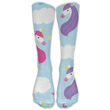 Unicorn Novelty Cotton Knee High All-Over Printed Socks