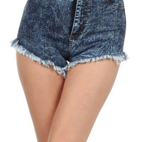 Dark Denim High-waisted Stone Wash Shorts