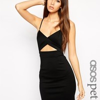 ASOS PETITE Exclusive Bodycon Dress in Scuba with Cut Out - Black
