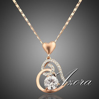 18K Real Gold Plated SWA ELEMENTS Crystals Heart Pendant Necklace for Valentine's Day Gift of Love