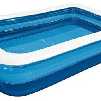 By PoolCentral 79 inch  Blue and White Giant Rectangular Inflatable Family Backyard Pool