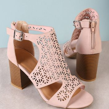 Perforated Caged Band Chunky Heel BLUSH