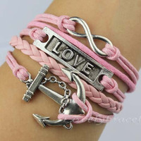 Infinity, love, anchor bracelets, silver and pink charm, a gift for girlfriend and boyfriend