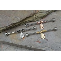 Dangling Feather 14g or 16g Industrial Barbell Silver, Gold or Rose Gold
