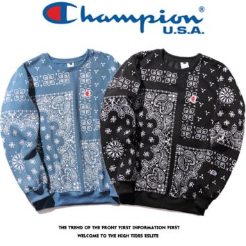 The New Ethnic Champion Embroidery Casual Pullover Sweater