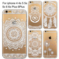 Phone Cases for Apple iPhone 4 4S 5 5S 5C 6 6S 6Plus 6s Plus HENNA DREAM CATCHER Ethnic Tribal TPU Silicon Covers Capa Back