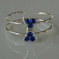 Blue Bow Tie Toe Ring 925 Sterling Silver Crystal Gems
