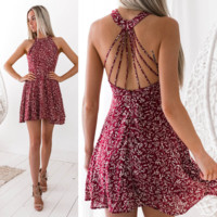 2018 Sexy Hanging Neck Backless Print Dress