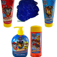 Paw Patrol Bath and Body Bundle - 5 Items: Barking Berry Collection of Body Wash, Bubble Bath, Shampoo, Hand Soap, with Bonus Bath Sponge (Blue)