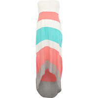 PINK COLOUR BLOCK DIP HEM MAXI DRESS